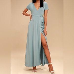 Lulu's Surplice Evolve Slate Blue Wrap Maxi Dress